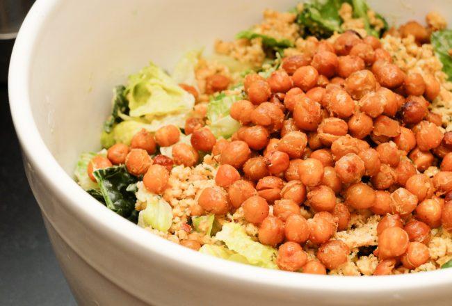 Vegan Kale Caesar with Crispy Roasted Chickpeas