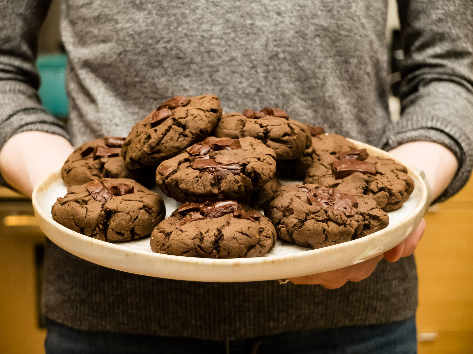 Chewy Double Dark Chocolate Cookies
