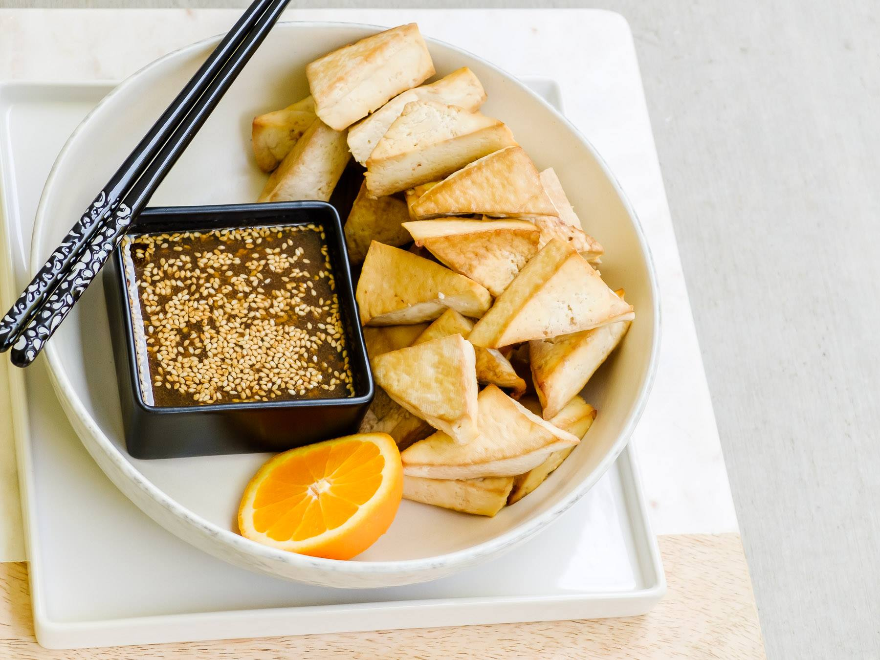 The Perfect Baked Tofu with Sesame-Citrus Dipping Sauce