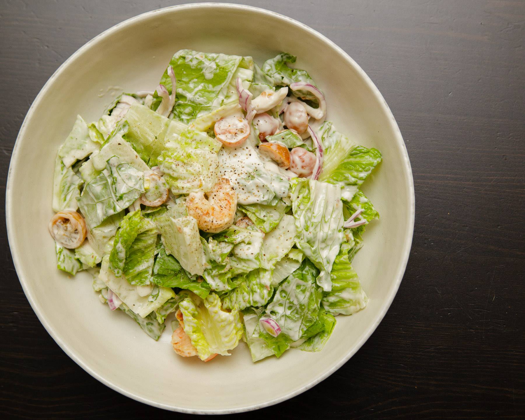 Crispy Romaine & Grilled Shrimp Salad With Tahini Dressing