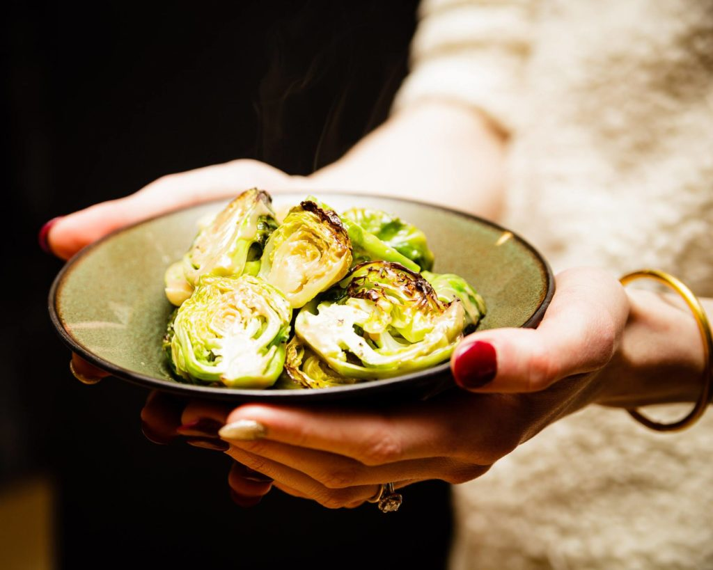 ROASTED BRUSSELS SPROUTS WITH MAPLE MISO DRESSING