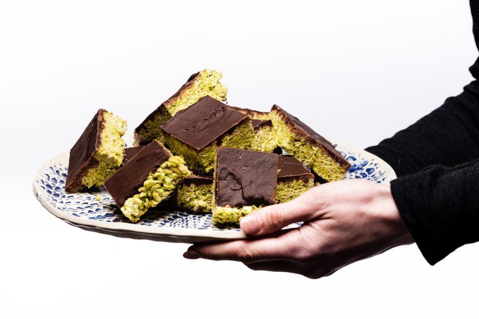 Matcha Dark Chocolate Rice Crispy Treats
