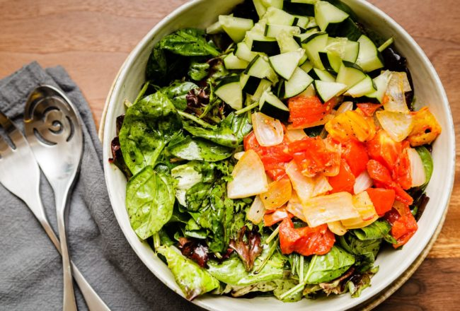 Simple Tossed Salad with Sautéed Summer Produce